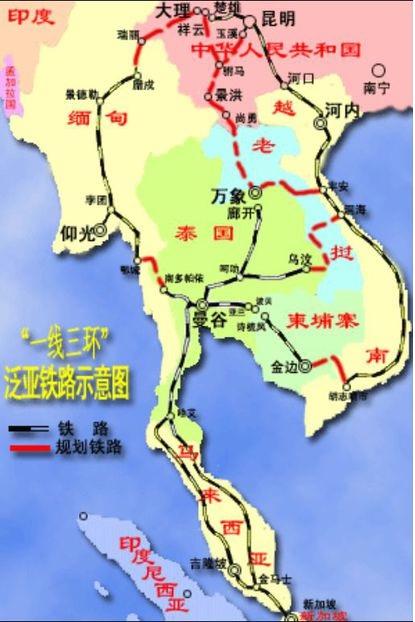 泛亚铁路东南亚段,泰国是各条线路的交汇点